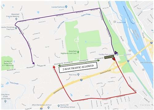 woodside detour map MAR 2018
